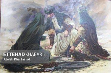تصاویر اختصاصی/افتتاح نمایشگاه نقاشی مهر و ماه هنرمند دشتستانی با حضور آیت الله صفایی بوشهری